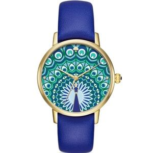 NWT Kate Spade Peacock Leather Metro Watch, 34mm